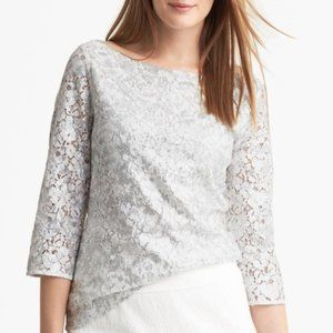 Banana Republic Sequin Lace 3/4 Sleeve Blouse 14